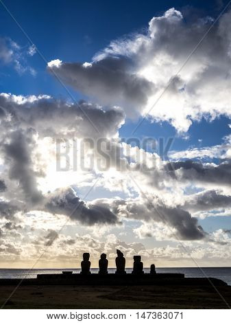 The Ahu Tahai sunsets in Easter Island