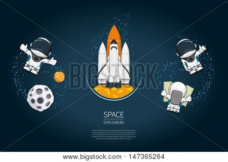 Set of Modern design vector illustration with rocket Launch astronaut planet. universe exploration and new technology. Template for poster.