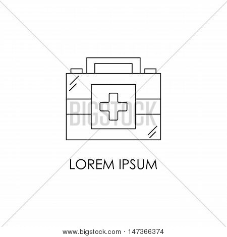Vector flat outline illustration with isolated medicine chest. First aid vector box. Emergency lifeguard medicine equipment. Ambulance medicine chest. Vector logo or emblem medication design