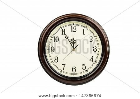 Classic round wall clock isolated on white background