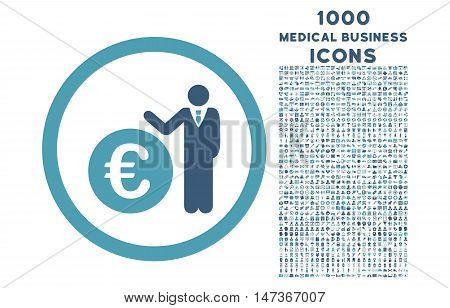 Euro Economist rounded vector bicolor icon with 1000 medical business icons. Set style is flat pictograms, cyan and blue colors, white background.
