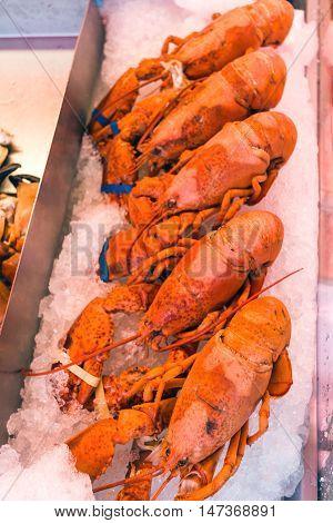 Norwegian Seafood. Fish market in Bergen. Norway