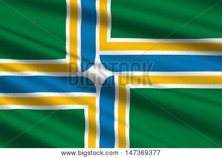 Flag of Portland in state of Oregon United States. 3D illustration