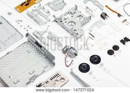 Carcassette audio player parts. All parts design changed. Electrical and mechanical parts