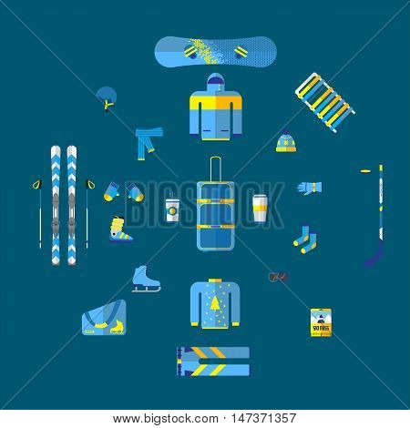 Vector illustration of winter sports. Winter sports equipment set. Extreme sport equipment set. Isolated flat elements. Flat design