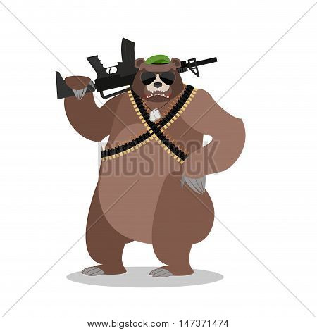 Military Bear With Rifle. Grizzlies With Gun. Wild Beast And Machine-gun Tape. Animal Soldiers. Army