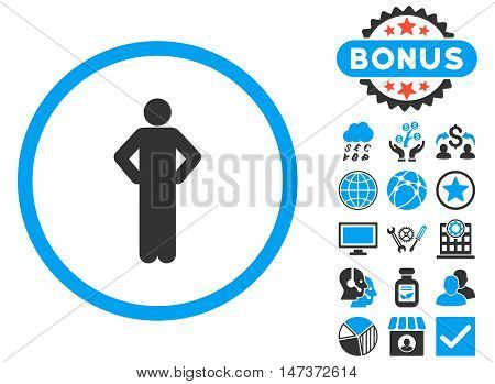Akimbo icon with bonus design elements. Vector illustration style is flat iconic bicolor symbols blue and gray colors white background.