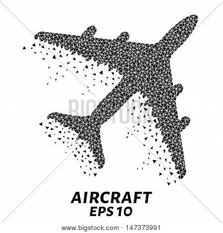 Aircraft of the triangles, particle divergent composition, vector illustration. The plane composition of geometric shapes