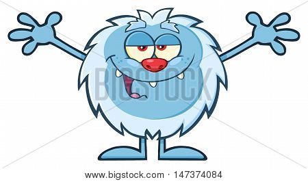Smiling Little Yeti Cartoon Mascot Character With Open Arms For Hugging