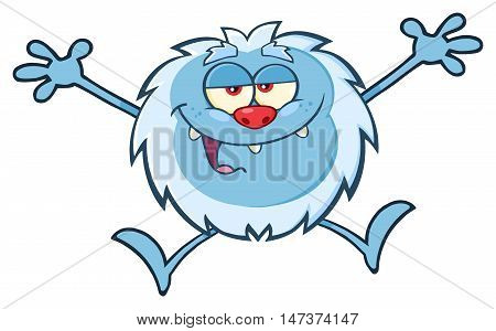 Happy Little Yeti Cartoon Mascot Character Jumping Up With Open Arms. Illustration Isolated On White Background