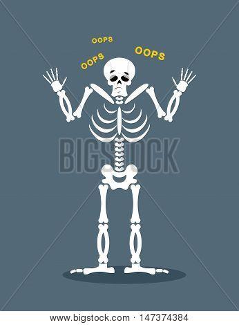 Surprised Skeleton says OOPS. Perplexed skull. Struck dead poster
