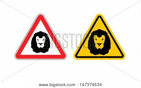 Warning Sign Lion Attention. Dangers Yellow Sign Wild Animal. Aggressive Beast. Set Of Road Signs Ag