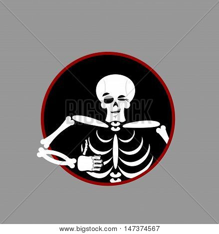 Skeleton Showing Thumbs Up. Signs All Right. Happy Skull. Bone Hand Showing Ok. Gesture Of  Hand. Go