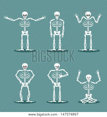Skeleton Set Of Different Poses. Expression Of Dead Emotions. Angry Skull And Kind. Sad And Happy. A