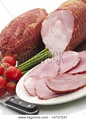 Smoked Ham Piece And Slices On White Background