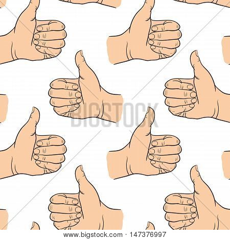 Seamless pattern hand showing symbol like. Making thumb up gesture. Drawn design element. Vector illustration on white background. Endless illustration for web poster print