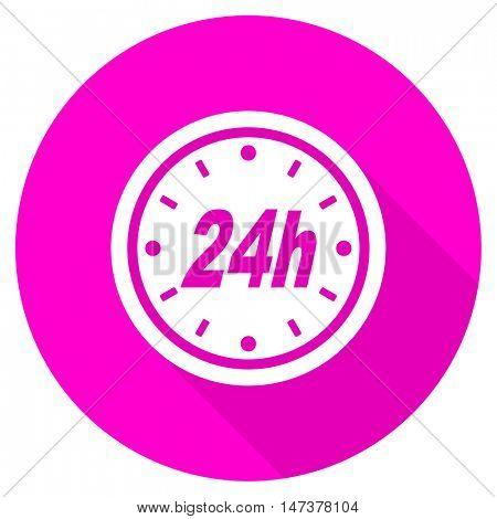 24h flat pink icon