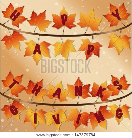 Happy Thanksgiving background with beige gradient background. Fall orange and yell gradient leaves that spell out happy thanksgiving on the leaves on brown branch. With sparkling dots in the background.