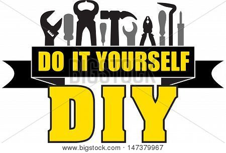 DIY do it yourself banner with silhouettes of workers tools: hammer screwdriver pliers file soldering iron pliers awl etc.