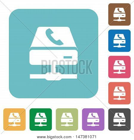 Flat VoIP services icons on rounded square color backgrounds.