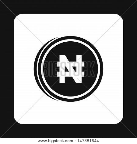 Coin naira icon in simple style isolated on white background. Monetary currency symbol vector illustration