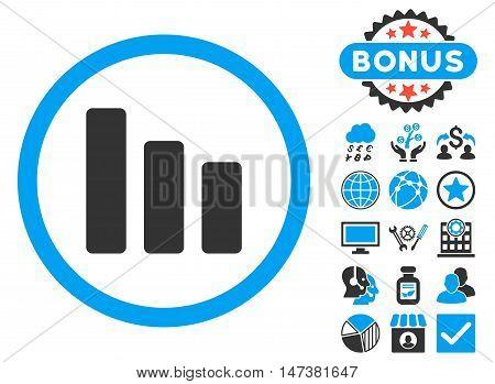 Bar Chart Decrease icon with bonus symbols. Vector illustration style is flat iconic bicolor symbols, blue and gray colors, white background.