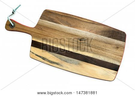 Wooden chopping board, isolated on white.  Top view.  For serving antipasti.