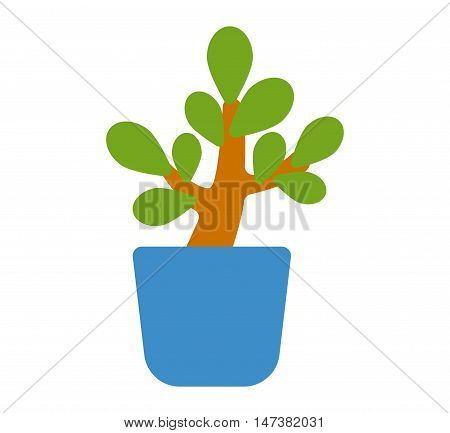 Flat pot with colorful flower. Nature home plant flower pot and spring decoration nature. Flower pot garden bloom flat vector. Spring colorful garden flowers