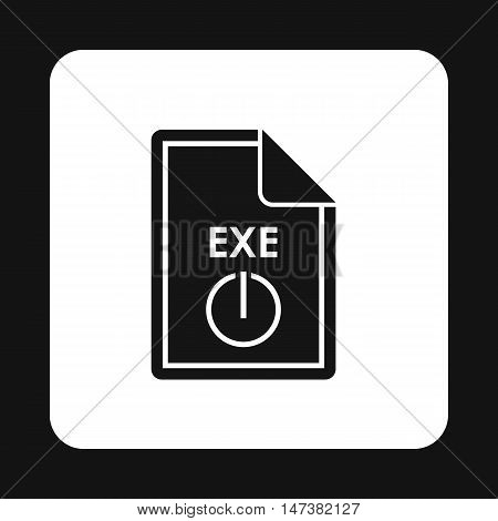 File EXE icon in simple style isolated on white background. Document type symbol vector illustration