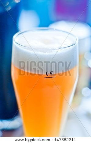 glass half-liter of fresh refreshing frothy beer ; at the end enough! Give me another beer!