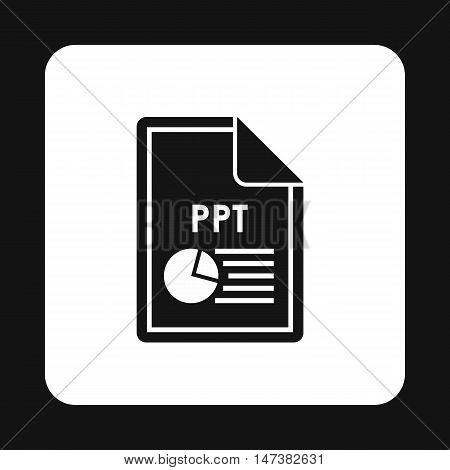 File PPT icon in simple style isolated on white background. Document type symbol vector illustration