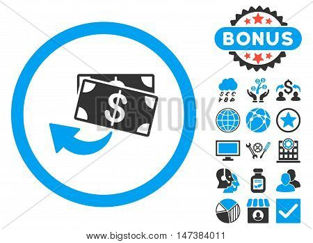 Cashback icon with bonus elements. Vector illustration style is flat iconic bicolor symbols, blue and gray colors, white background.