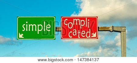 make the right choice: simple or complicated; choose one side or the other give a clear answer