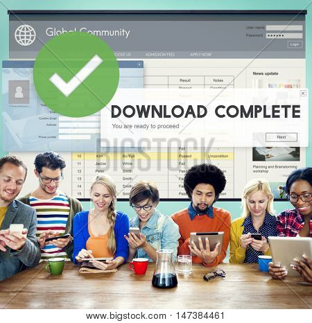 Download Complete Finish End Success Transfer Concept