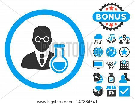 Chemist icon with bonus design elements. Vector illustration style is flat iconic bicolor symbols, blue and gray colors, white background.