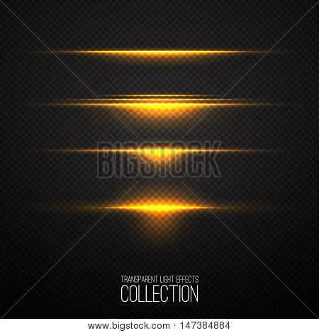 Glowing light effcets collection  isolated on transparent. Abstract realistic Sci Fi  hightlights . Creative , moder concept . Vector illustration .