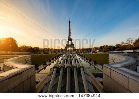 Sunrise in Eiffel Tower in Paris France. Eiffel Tower is famous place in Paris France.