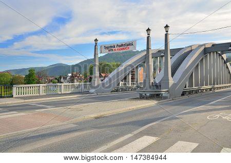 KROSCIENKO NAD DUNAJCEM POLAND - MAY 11 2016: Bridges named Jozef Pilsudski in Kroscienko nad Dunajcem Poland.