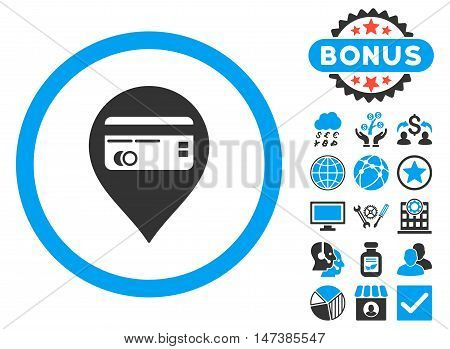 Credit Card Pointer icon with bonus symbols. Vector illustration style is flat iconic bicolor symbols, blue and gray colors, white background.