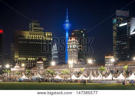 Merdeka Square in downtown Kuala Lumpur at twilight Malaysia