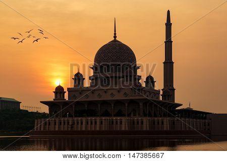 Putrajaya Mosque during sunrise in Kuala Lumpur Malaysia.