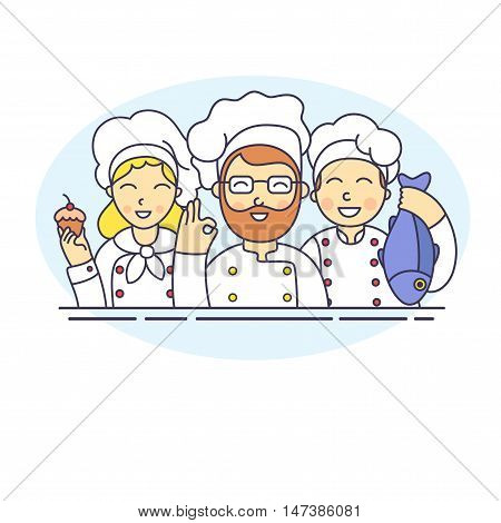 chef vector croup. cook group vector illustration
