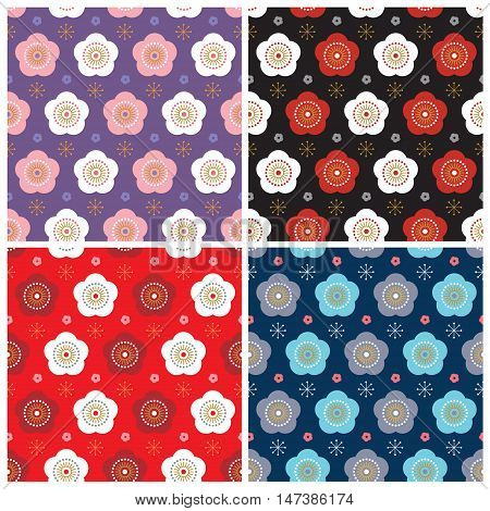 Vector set of Japanese pattern with beautiful sakura motif. Colorful Japan vintage floral background design.