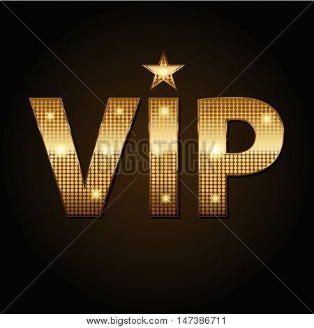 Vector VIP golden icons in black background