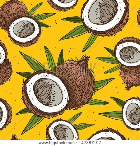 Seamless vector pattern of coconuts on a yellow background. Wrapping paper. Beautiful background for your design. Sweet and healthy tropical fruit nut.