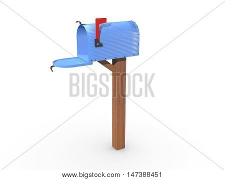 A 3D rendering of a blue and empty US Mailbox open with corrugated casing and red flag up.