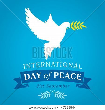 Peace dove with olive branch for International Peace Day vector banner. International Day of Peace banner