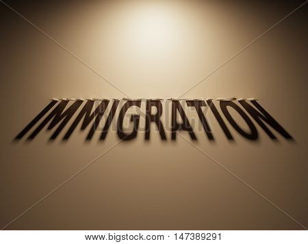 3D Rendering Of A Shadow Text That Reads Immigration