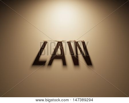 3D Rendering Of A Shadow Text That Reads Law