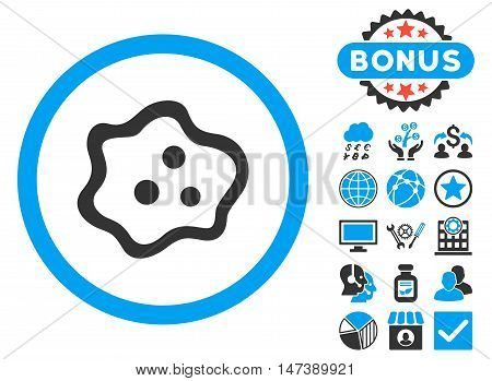 Amoeba icon with bonus symbols. Glyph illustration style is flat iconic bicolor symbols, blue and gray colors, white background.